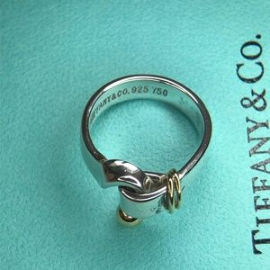 Silver Gold Sterling 18k Hook Eye Ring Size 5.5